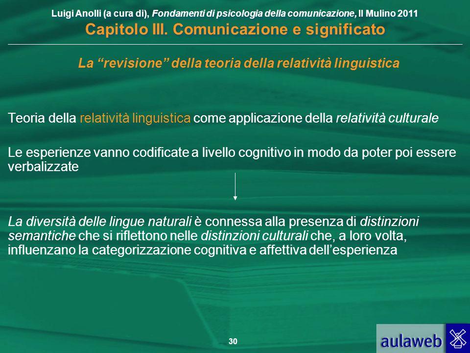Luigi Anolli (a cura di), Fondamenti di psicologia della comunicazione, Il Mulino 2011 Capitolo III. Comunicazione e significato 30 La revisione della