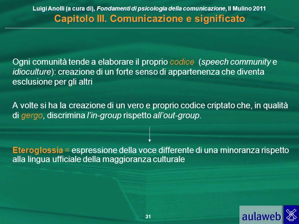 Luigi Anolli (a cura di), Fondamenti di psicologia della comunicazione, Il Mulino 2011 Capitolo III. Comunicazione e significato 31 Ogni comunità tend