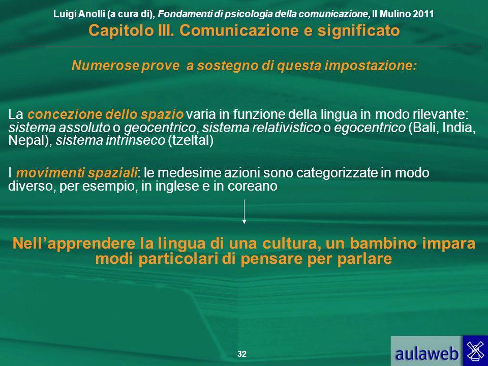 Luigi Anolli (a cura di), Fondamenti di psicologia della comunicazione, Il Mulino 2011 Capitolo III. Comunicazione e significato 32 Numerose prove a s