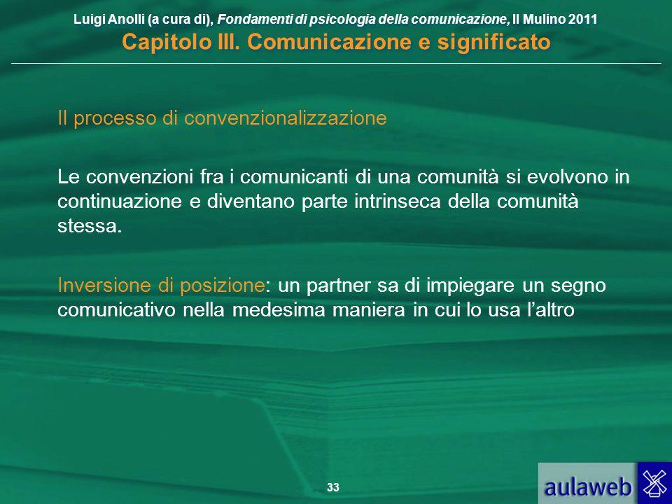 Luigi Anolli (a cura di), Fondamenti di psicologia della comunicazione, Il Mulino 2011 Capitolo III. Comunicazione e significato 33 Il processo di con