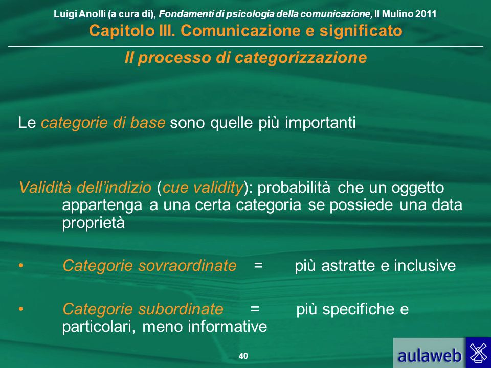 Luigi Anolli (a cura di), Fondamenti di psicologia della comunicazione, Il Mulino 2011 Capitolo III. Comunicazione e significato 40 Il processo di cat