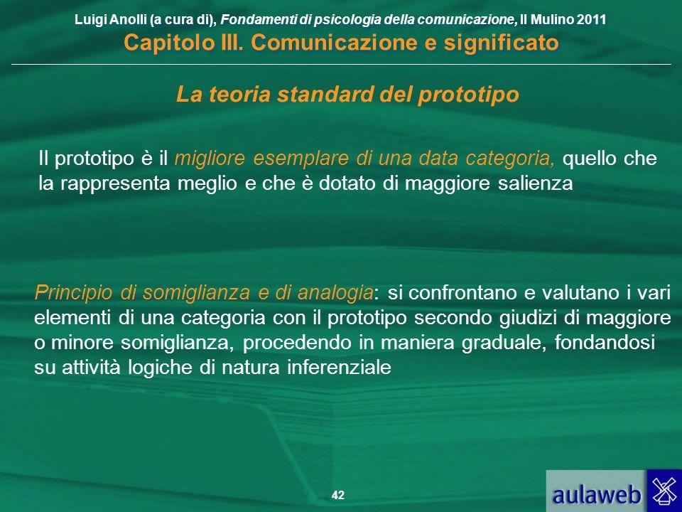 Luigi Anolli (a cura di), Fondamenti di psicologia della comunicazione, Il Mulino 2011 Capitolo III. Comunicazione e significato 42 La teoria standard