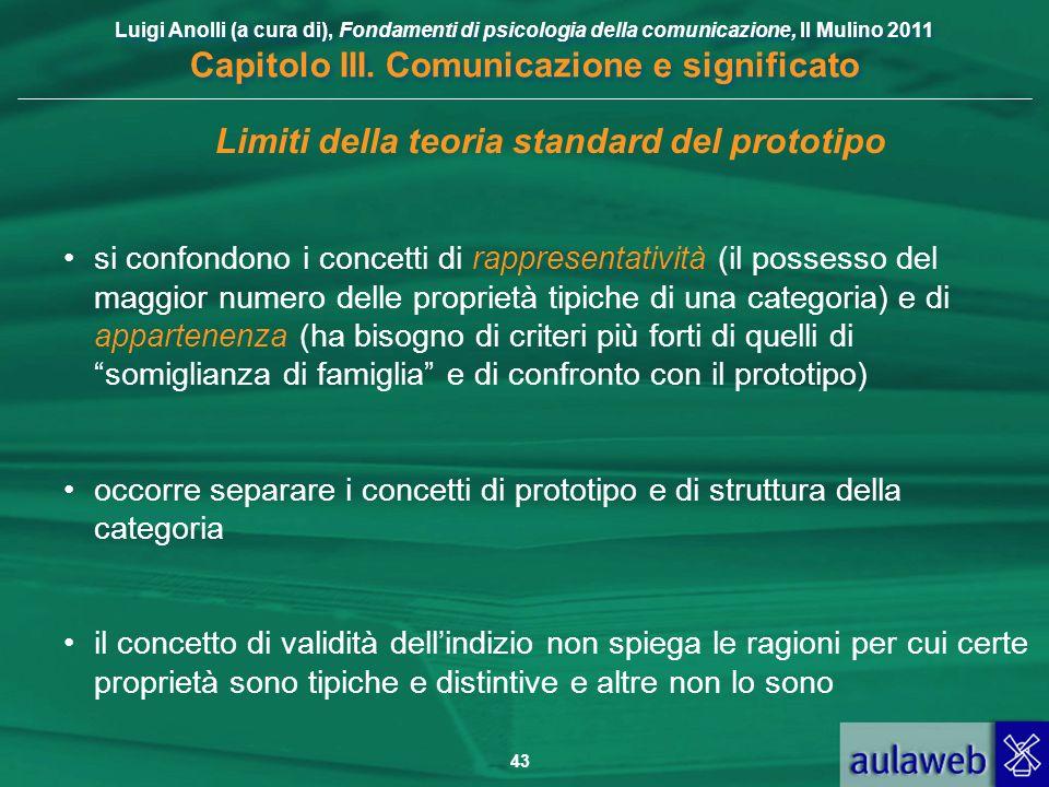 Luigi Anolli (a cura di), Fondamenti di psicologia della comunicazione, Il Mulino 2011 Capitolo III. Comunicazione e significato 43 Limiti della teori