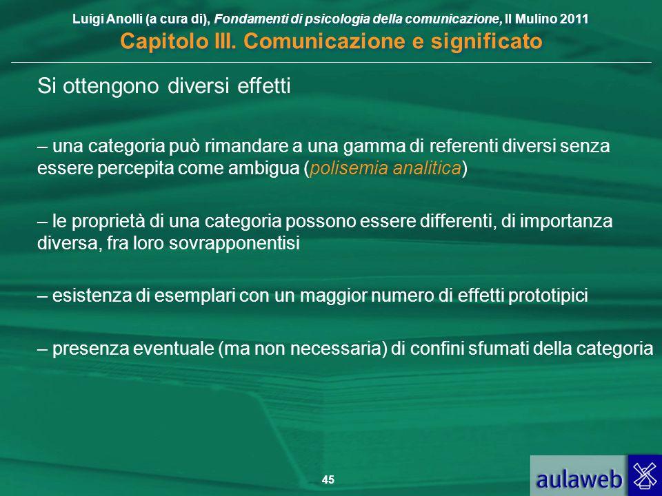 Luigi Anolli (a cura di), Fondamenti di psicologia della comunicazione, Il Mulino 2011 Capitolo III. Comunicazione e significato 45 Si ottengono diver