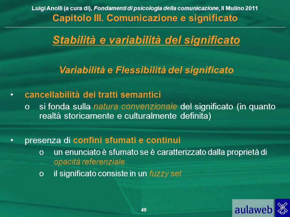 Luigi Anolli (a cura di), Fondamenti di psicologia della comunicazione, Il Mulino 2011 Capitolo III. Comunicazione e significato 49 Stabilità e variab
