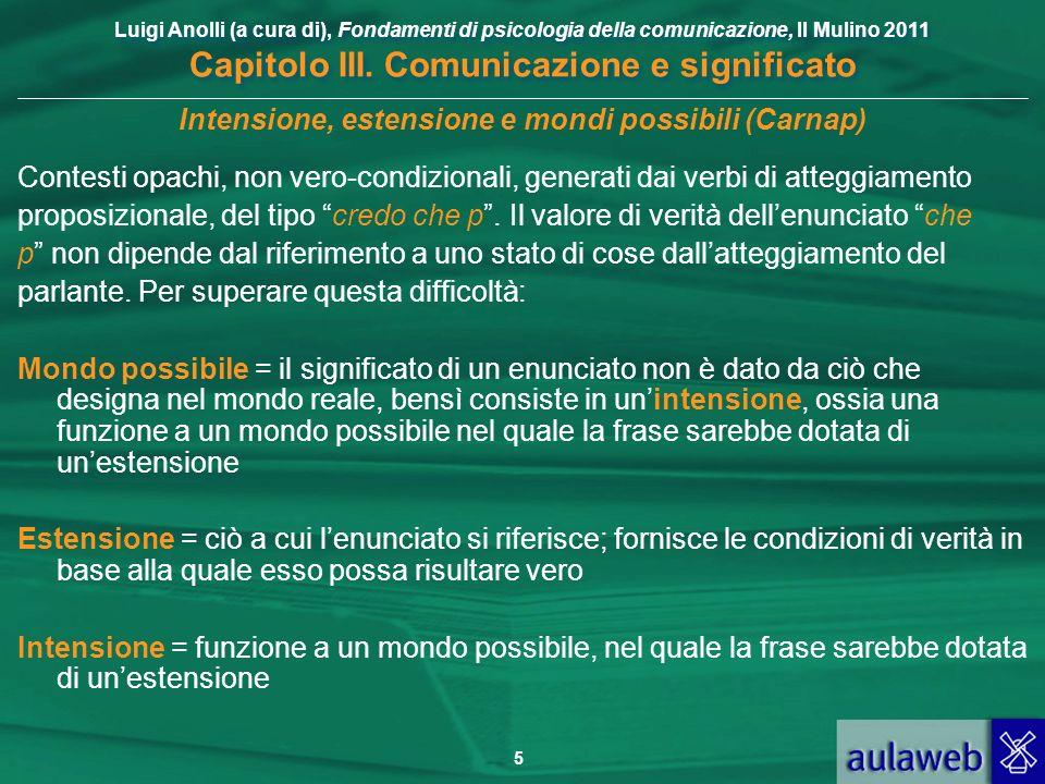 Luigi Anolli (a cura di), Fondamenti di psicologia della comunicazione, Il Mulino 2011 Capitolo III. Comunicazione e significato 5 Intensione, estensi