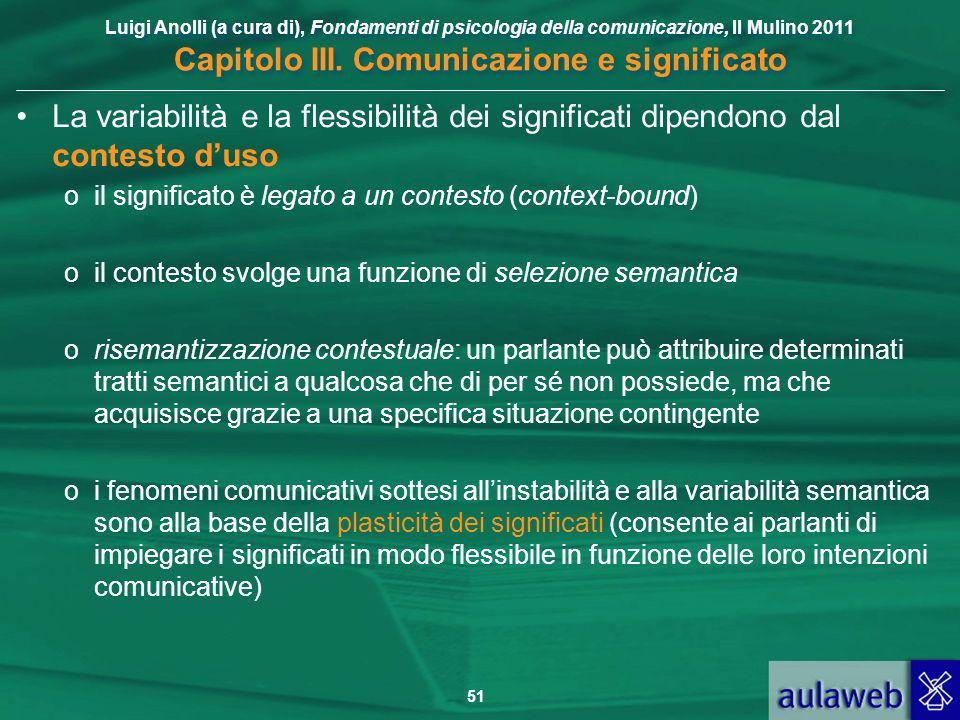Luigi Anolli (a cura di), Fondamenti di psicologia della comunicazione, Il Mulino 2011 Capitolo III. Comunicazione e significato 51 La variabilità e l