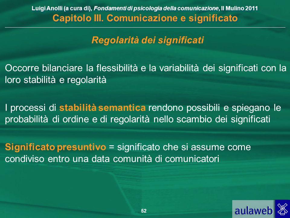 Luigi Anolli (a cura di), Fondamenti di psicologia della comunicazione, Il Mulino 2011 Capitolo III. Comunicazione e significato 52 Regolarità dei sig