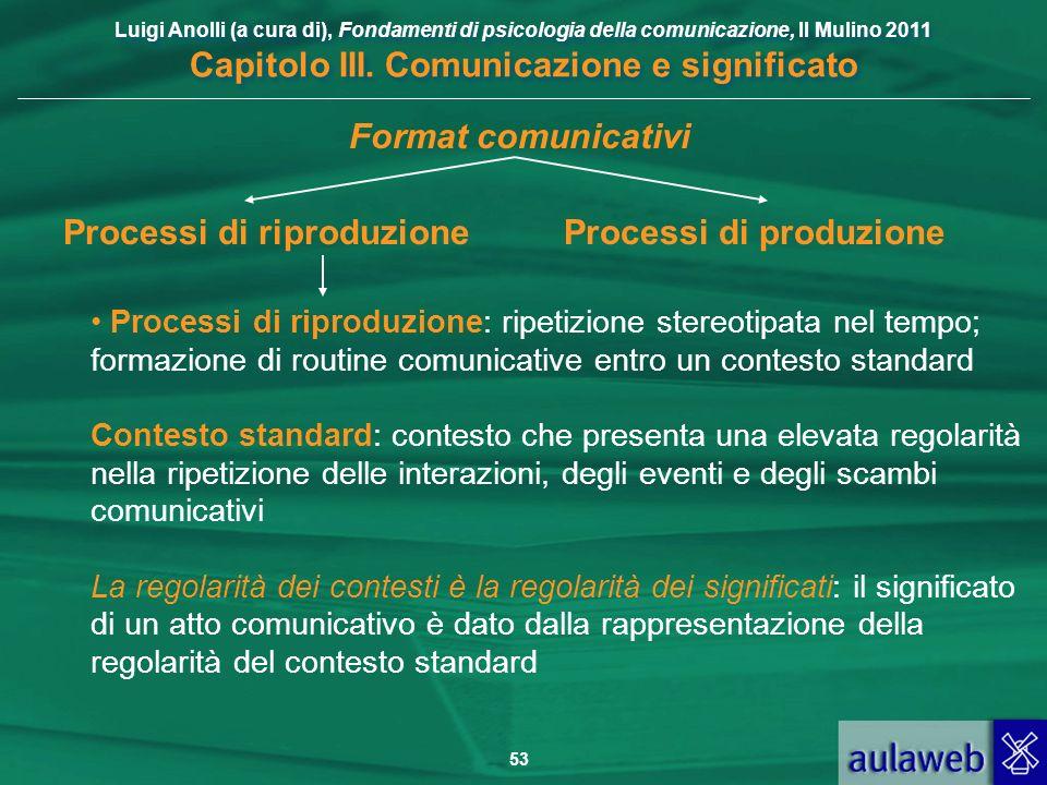 Luigi Anolli (a cura di), Fondamenti di psicologia della comunicazione, Il Mulino 2011 Capitolo III. Comunicazione e significato 53 Processi di riprod