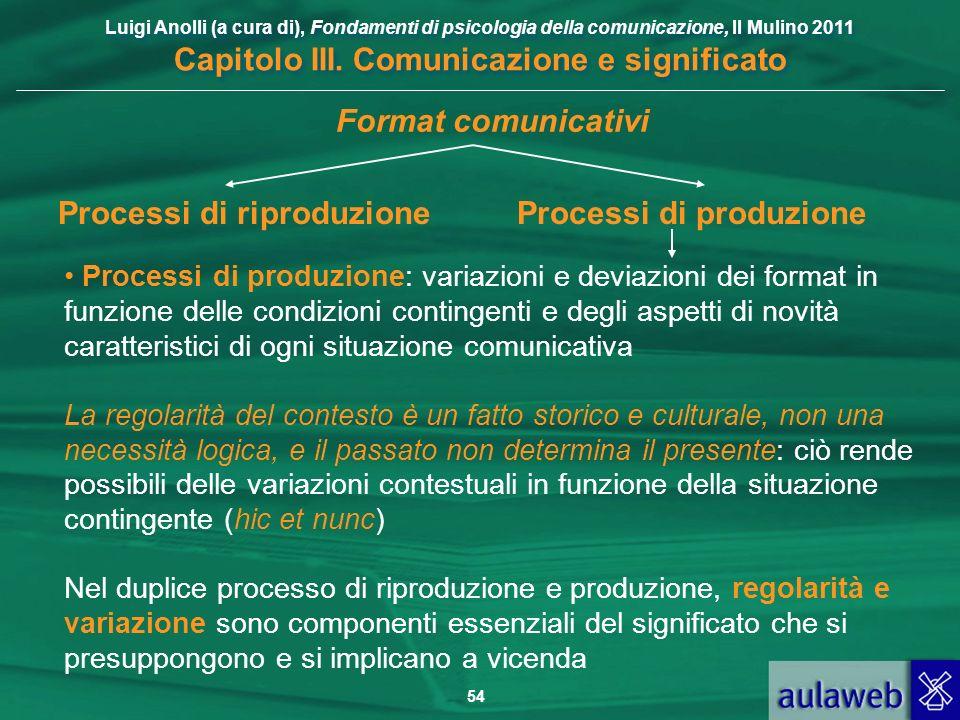 Luigi Anolli (a cura di), Fondamenti di psicologia della comunicazione, Il Mulino 2011 Capitolo III. Comunicazione e significato 54 Processi di produz