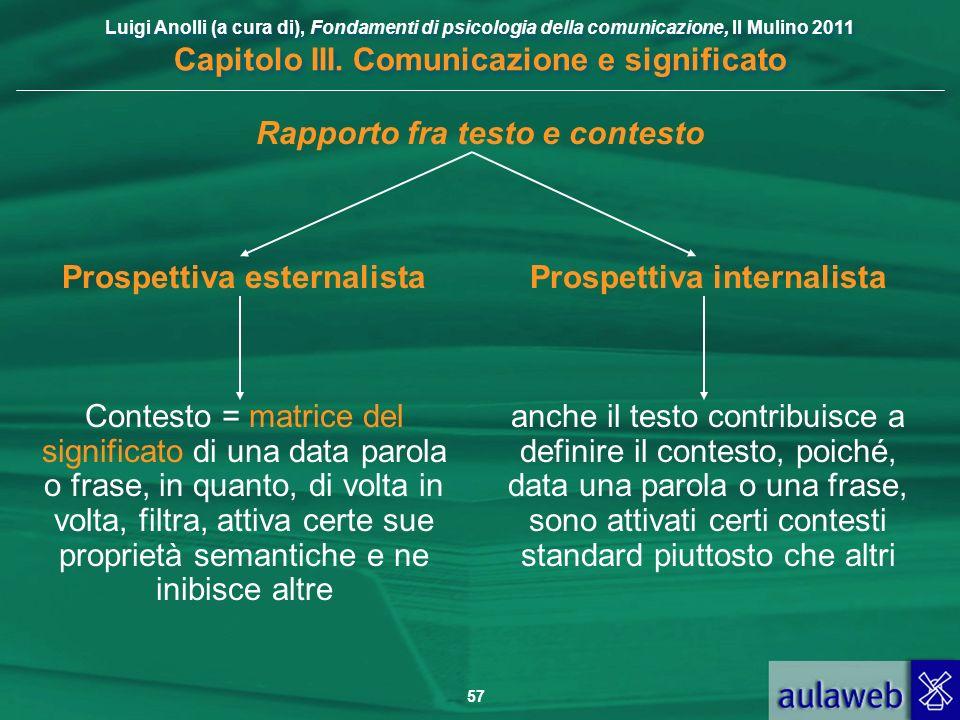 Luigi Anolli (a cura di), Fondamenti di psicologia della comunicazione, Il Mulino 2011 Capitolo III. Comunicazione e significato 57 Rapporto fra testo