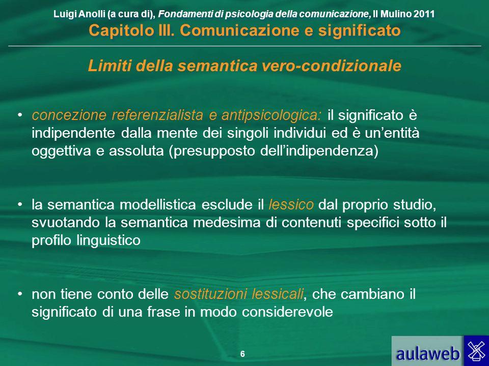 Luigi Anolli (a cura di), Fondamenti di psicologia della comunicazione, Il Mulino 2011 Capitolo III. Comunicazione e significato 6 Limiti della semant