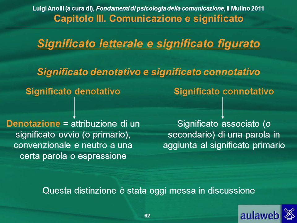 Luigi Anolli (a cura di), Fondamenti di psicologia della comunicazione, Il Mulino 2011 Capitolo III. Comunicazione e significato 62 Significato letter