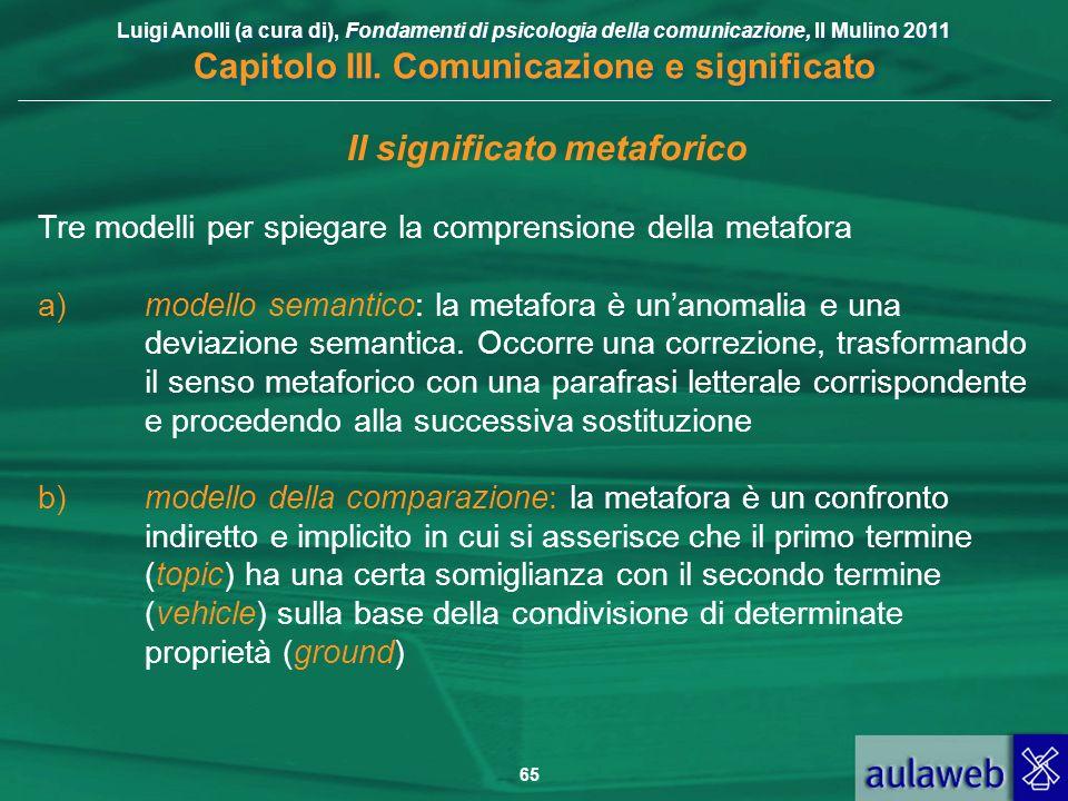 Luigi Anolli (a cura di), Fondamenti di psicologia della comunicazione, Il Mulino 2011 Capitolo III. Comunicazione e significato 65 Il significato met