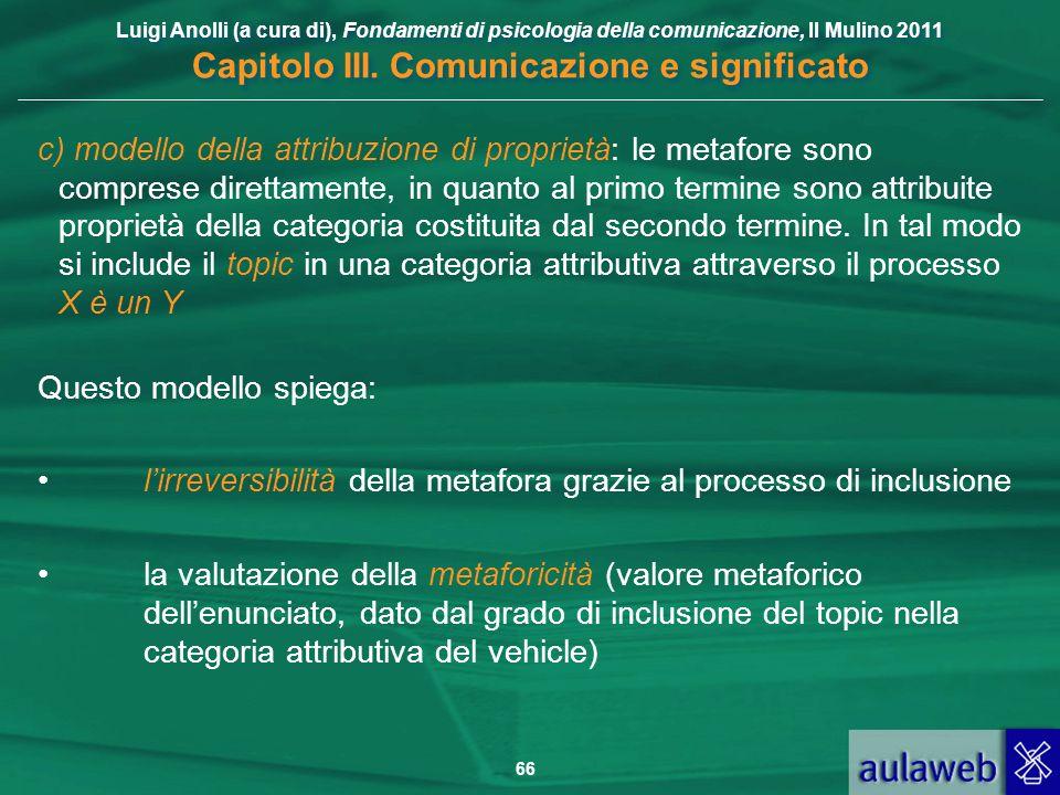 Luigi Anolli (a cura di), Fondamenti di psicologia della comunicazione, Il Mulino 2011 Capitolo III. Comunicazione e significato 66 c) modello della a