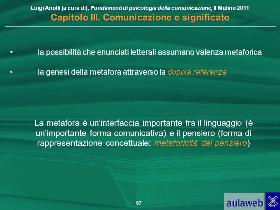 Luigi Anolli (a cura di), Fondamenti di psicologia della comunicazione, Il Mulino 2011 Capitolo III. Comunicazione e significato 67 la possibilità che