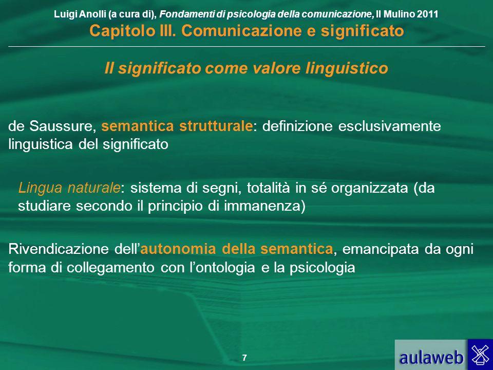Luigi Anolli (a cura di), Fondamenti di psicologia della comunicazione, Il Mulino 2011 Capitolo III. Comunicazione e significato 7 Il significato come