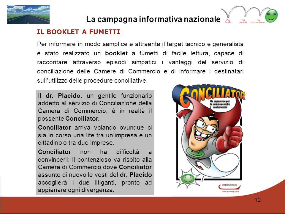 12 La campagna informativa nazionale IL BOOKLET A FUMETTI Per informare in modo semplice e attraente il target tecnico e generalista è stato realizzat