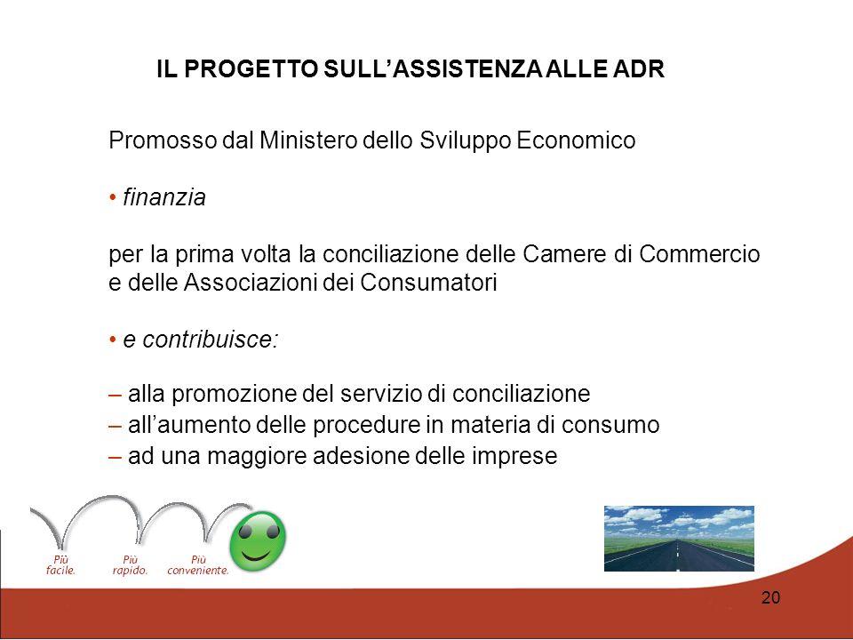 20 Promosso dal Ministero dello Sviluppo Economico finanzia per la prima volta la conciliazione delle Camere di Commercio e delle Associazioni dei Con