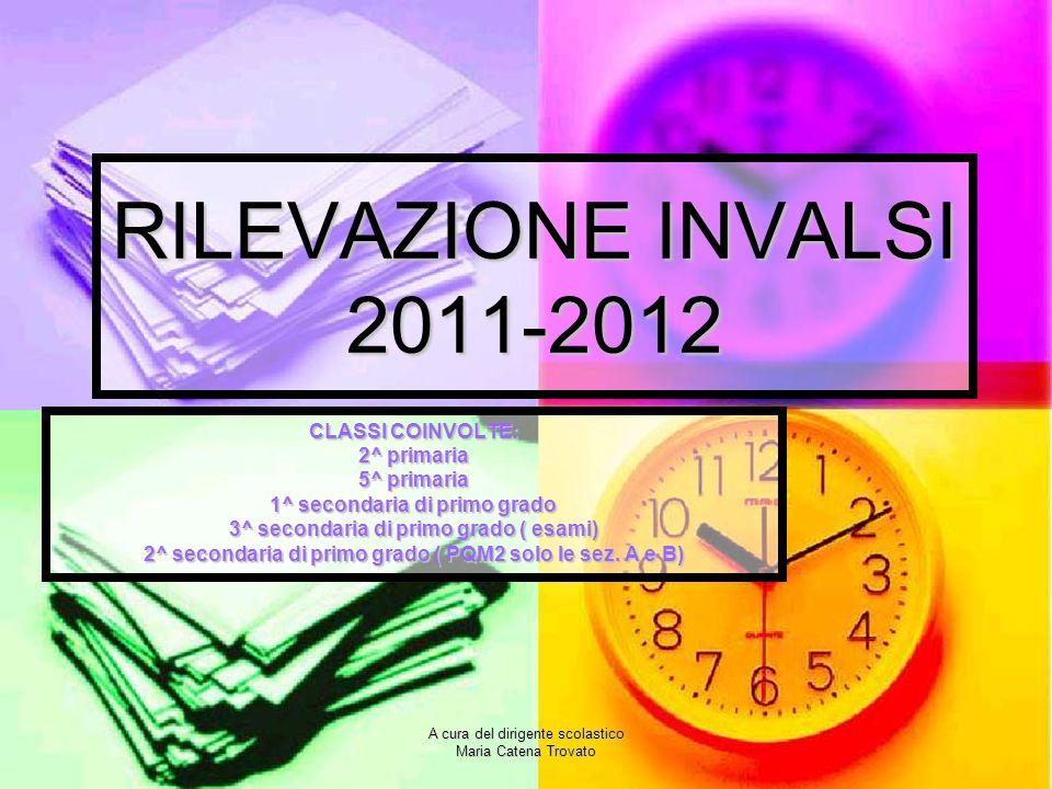 A cura del dirigente scolastico Maria Catena Trovato RILEVAZIONE INVALSI 2011-2012 CLASSI COINVOLTE: 2^ primaria 5^ primaria 1^ secondaria di primo gr