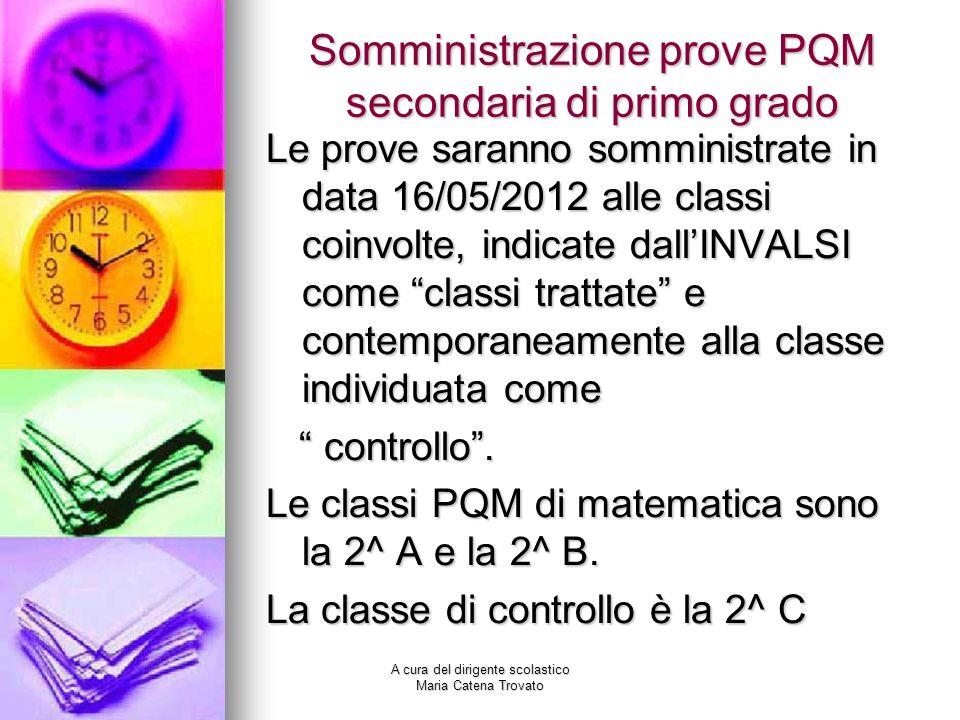 Somministrazione prove PQM secondaria di primo grado Le prove saranno somministrate in data 16/05/2012 alle classi coinvolte, indicate dallINVALSI com