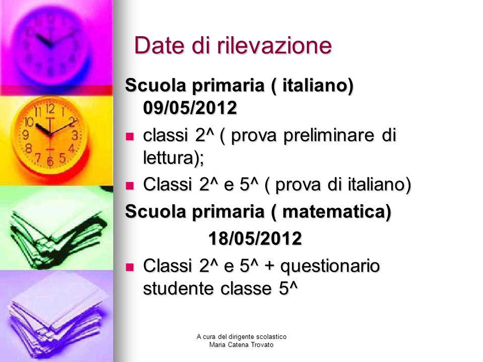A cura del dirigente scolastico Maria Catena Trovato Date di rilevazione Scuola primaria ( italiano) 09/05/2012 classi 2^ ( prova preliminare di lettu