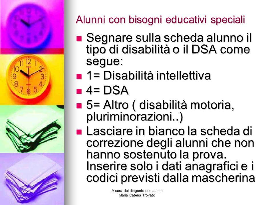 Alunni con bisogni educativi speciali Segnare sulla scheda alunno il tipo di disabilità o il DSA come segue: Segnare sulla scheda alunno il tipo di di