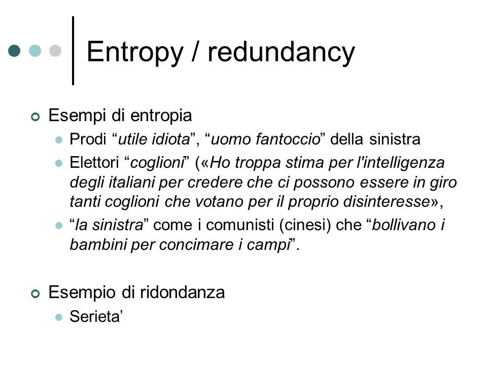 Entropy / redundancy Esempi di entropia Prodi utile idiota, uomo fantoccio della sinistra Elettori coglioni («Ho troppa stima per l intelligenza degli italiani per credere che ci possono essere in giro tanti coglioni che votano per il proprio disinteresse», la sinistra come i comunisti (cinesi) che bollivano i bambini per concimare i campi.
