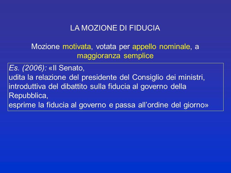 LA MOZIONE DI FIDUCIA Mozione motivata, votata per appello nominale, a maggioranza semplice Es. (2006): «La Camera, udite le dichiarazioni programmati