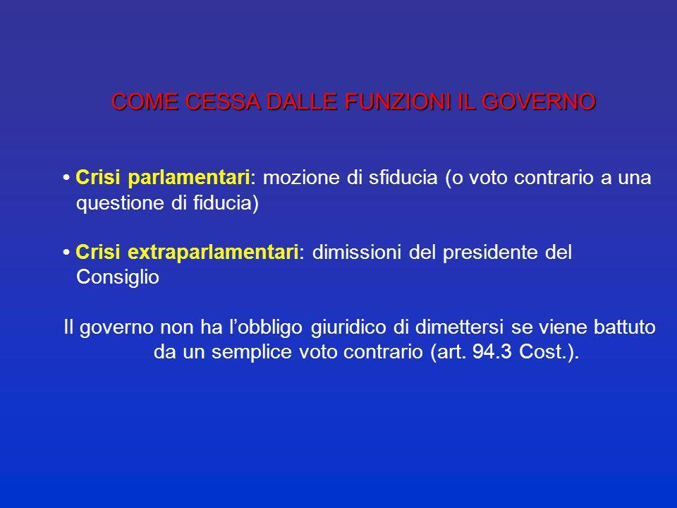 LE RESPONSABILITA DEL GOVERNO responsabilità politica con il Parlamento (ciascuna delle due Camere: doppio rapporto fiduciario) responsabilità politic