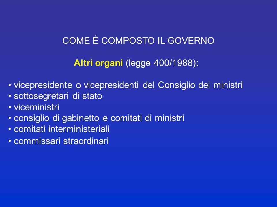COME E COMPOSTO IL GOVERNO (ART. 92.1 COST.) Il governo è un organo complesso composto da: presidente del Consiglio dei ministri (presidenza del Consi