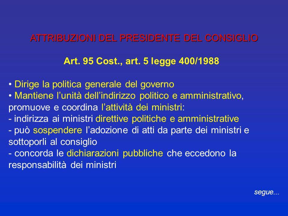 COME È COMPOSTO IL GOVERNO Altri organi (legge 400/1988): vicepresidente o vicepresidenti del Consiglio dei ministri sottosegretari di stato viceminis