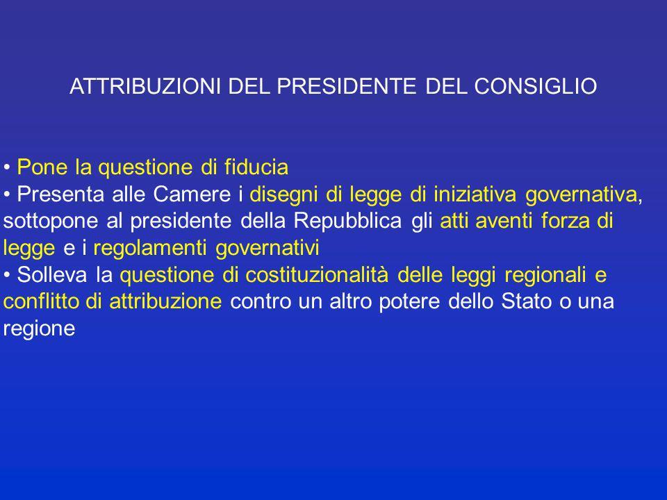 ATTRIBUZIONI DEL PRESIDENTE DEL CONSIGLIO Art. 95 Cost., art. 5 legge 400/1988 Dirige la politica generale del governo Mantiene lunità dellindirizzo p