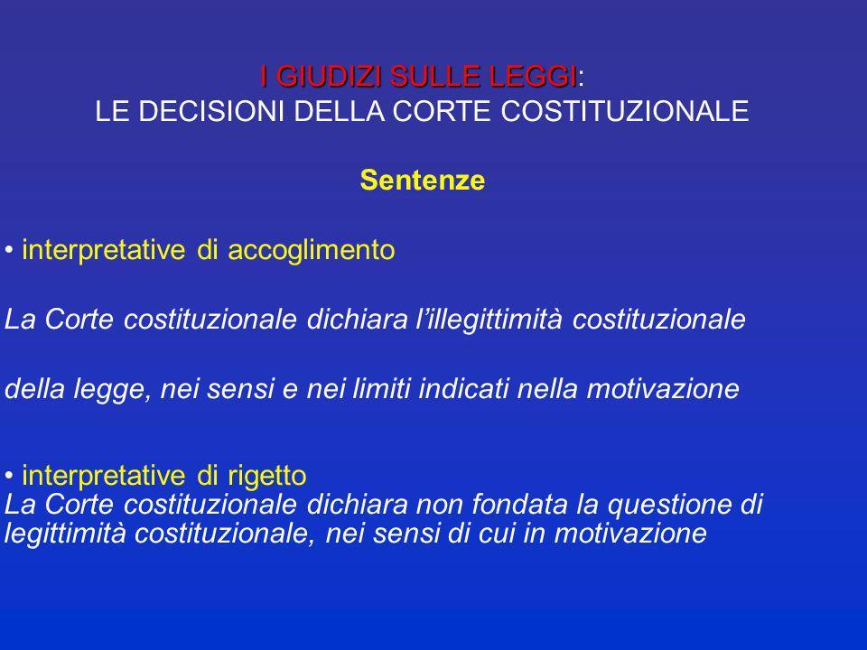 I GIUDIZI SULLE LEGGI I GIUDIZI SULLE LEGGI : LE DECISIONI DELLA CORTE COSTITUZIONALE Ordinanze La Corte costituzionale dichiara la manifesta inammiss