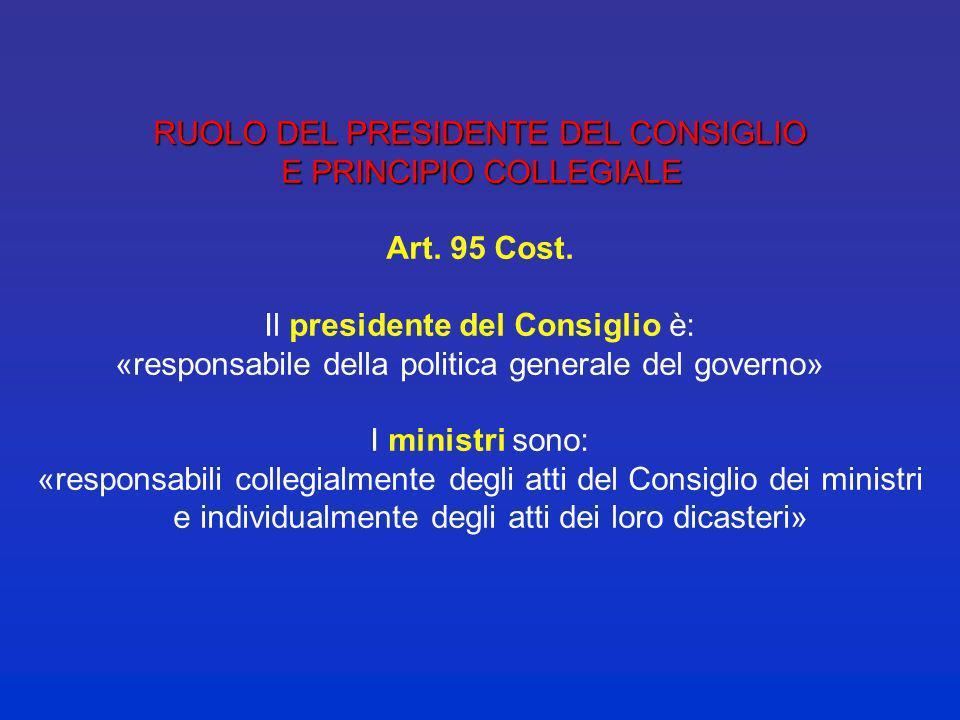 ATTRIBUZIONI DEL CONSIGLIO DEI MINISTRI ATTRIBUZIONI DEL CONSIGLIO DEI MINISTRI Art. 2 legge 400/1988 Determina la politica generale del governo e lin