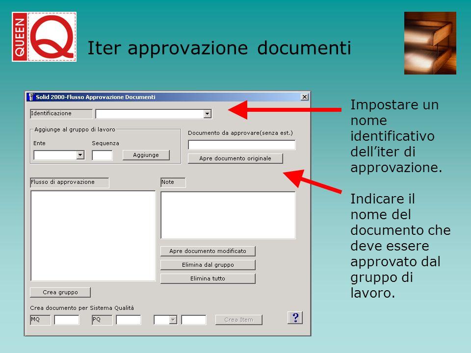 Impostare un nome identificativo delliter di approvazione. Indicare il nome del documento che deve essere approvato dal gruppo di lavoro. Iter approva