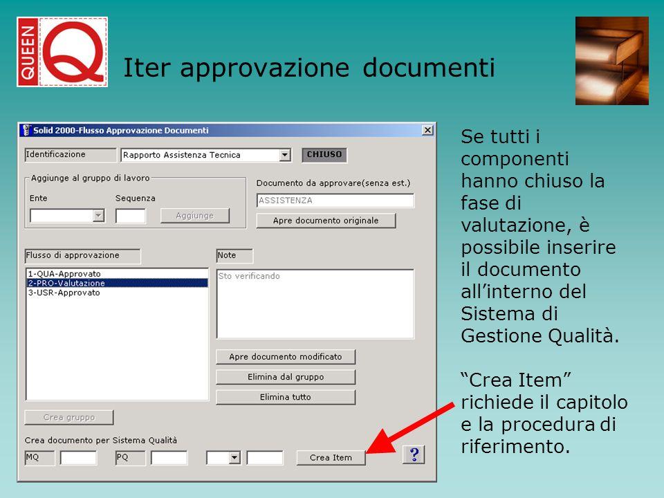 Se tutti i componenti hanno chiuso la fase di valutazione, è possibile inserire il documento allinterno del Sistema di Gestione Qualità. Crea Item ric