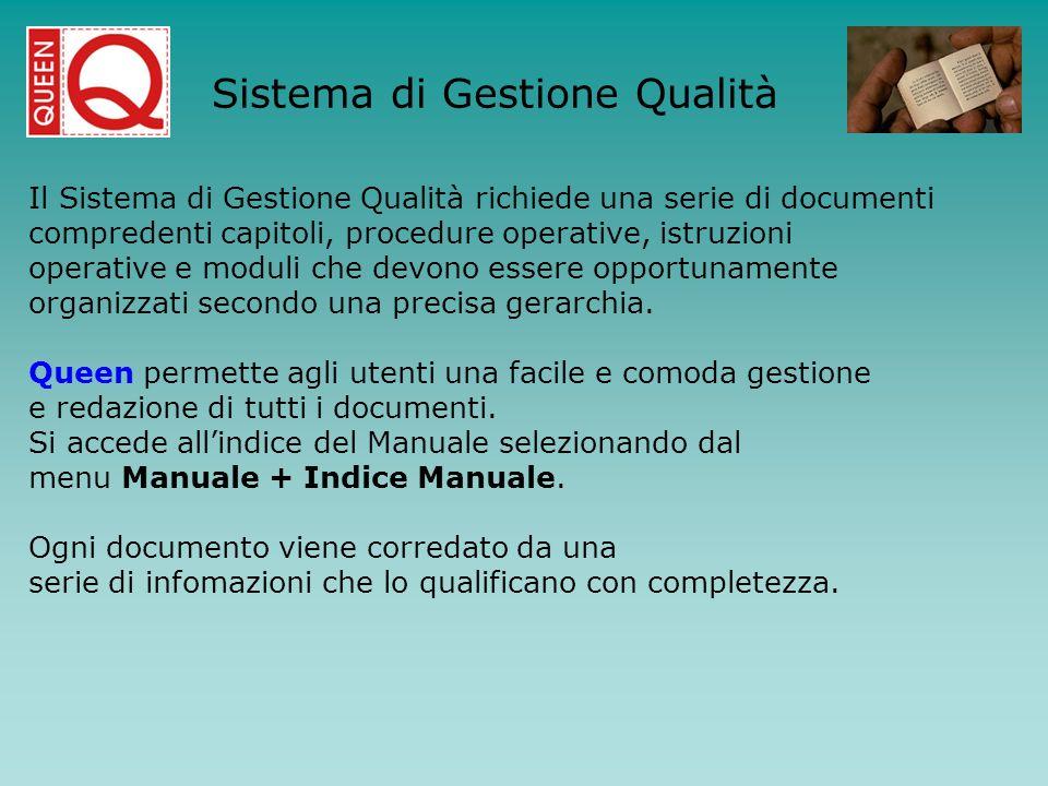 Il Sistema di Gestione Qualità richiede una serie di documenti compredenti capitoli, procedure operative, istruzioni operative e moduli che devono ess