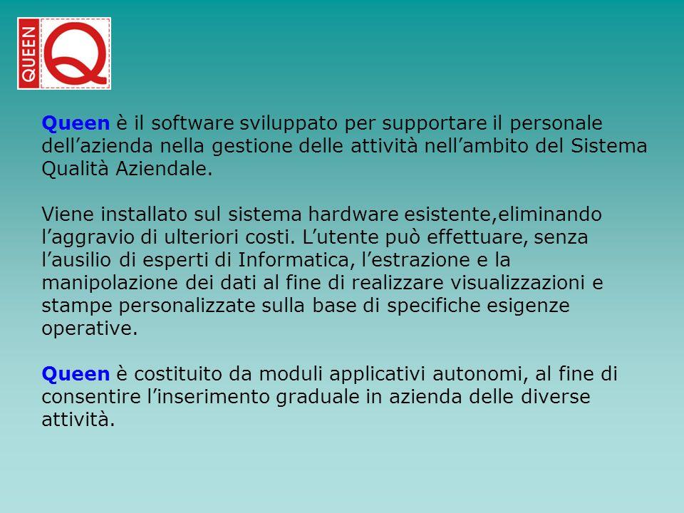 Queen è il software sviluppato per supportare il personale dellazienda nella gestione delle attività nellambito del Sistema Qualità Aziendale. Viene i