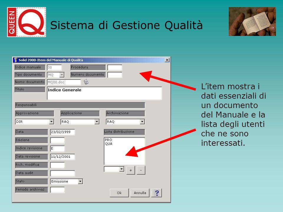 Litem mostra i dati essenziali di un documento del Manuale e la lista degli utenti che ne sono interessati. Sistema di Gestione Qualità