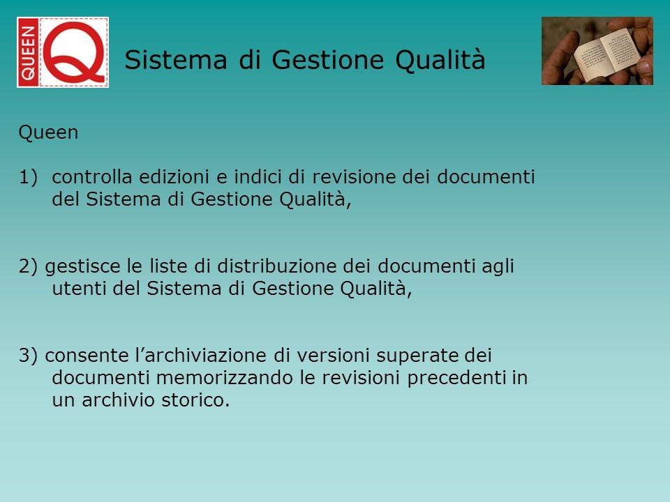 Queen 1)controlla edizioni e indici di revisione dei documenti del Sistema di Gestione Qualità, 2) gestisce le liste di distribuzione dei documenti ag