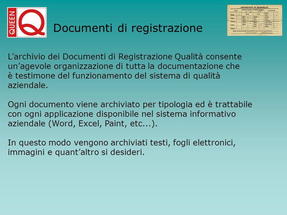 Documenti di registrazione Larchivio dei Documenti di Registrazione Qualità consente unagevole organizzazione di tutta la documentazione che è testimo