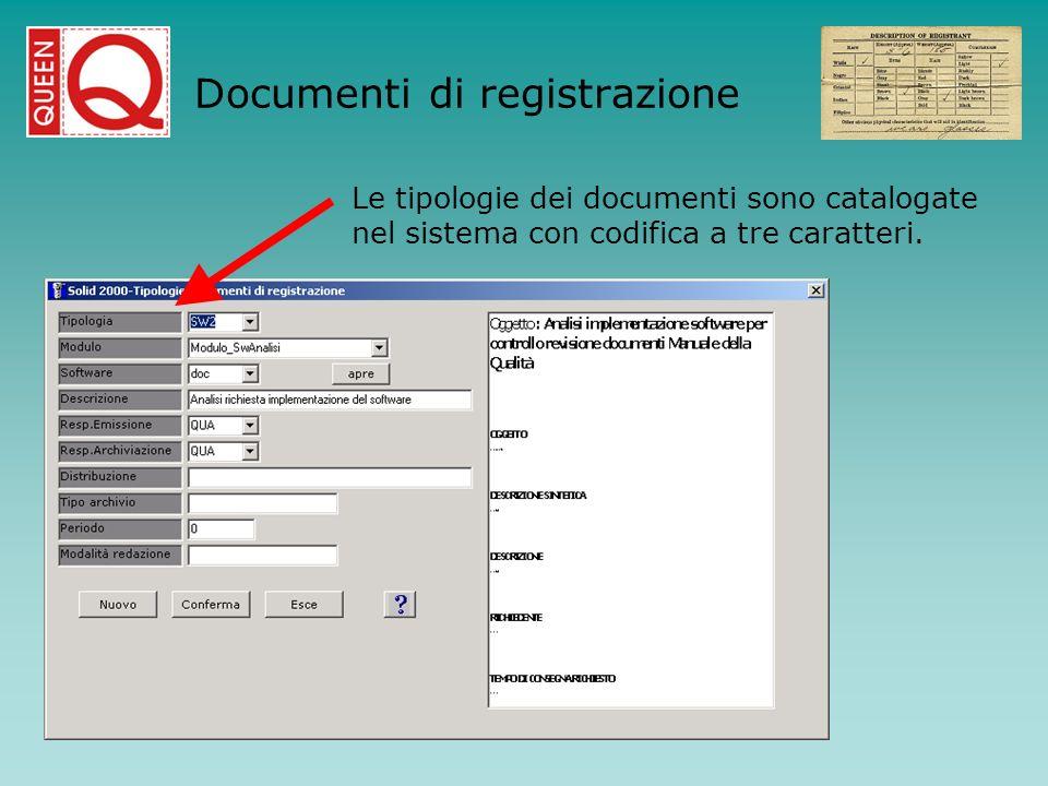 Le tipologie dei documenti sono catalogate nel sistema con codifica a tre caratteri. Documenti di registrazione