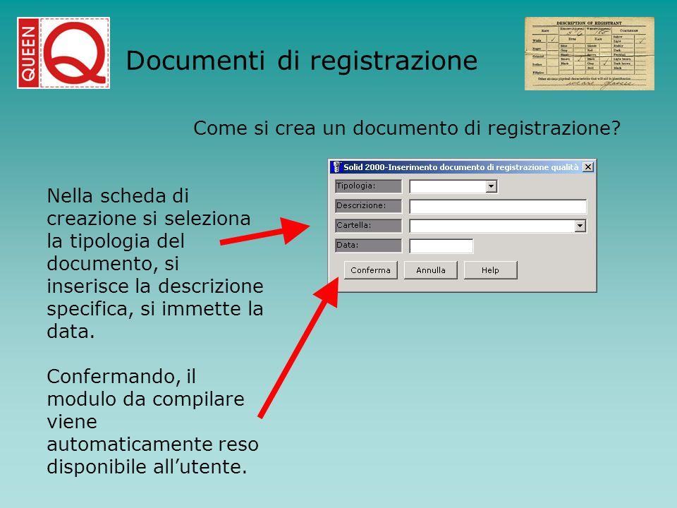 Nella scheda di creazione si seleziona la tipologia del documento, si inserisce la descrizione specifica, si immette la data. Confermando, il modulo d