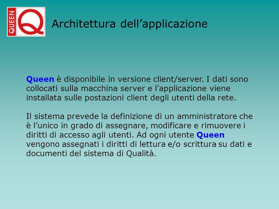 Architettura dellapplicazione Queen è disponibile in versione client/server. I dati sono collocati sulla macchina server e lapplicazione viene install