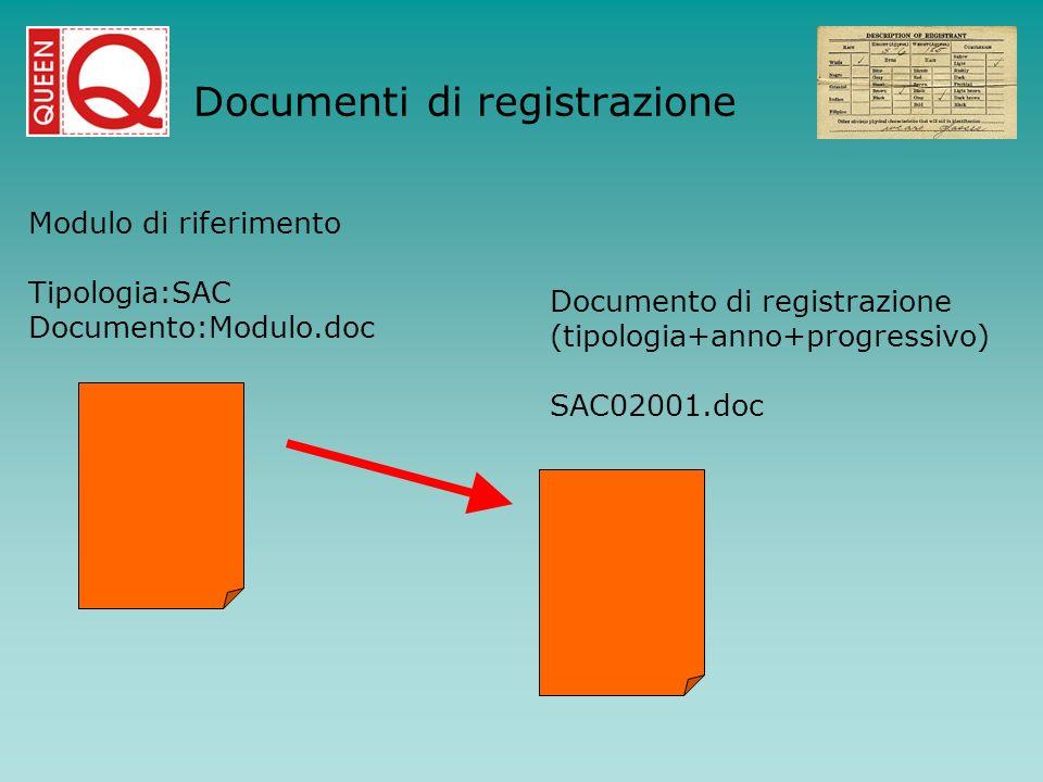 Modulo di riferimento Tipologia:SAC Documento:Modulo.doc Documento di registrazione (tipologia+anno+progressivo) SAC02001.doc Documenti di registrazio