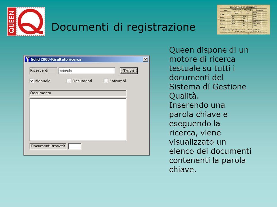 Queen dispone di un motore di ricerca testuale su tutti i documenti del Sistema di Gestione Qualità. Inserendo una parola chiave e eseguendo la ricerc