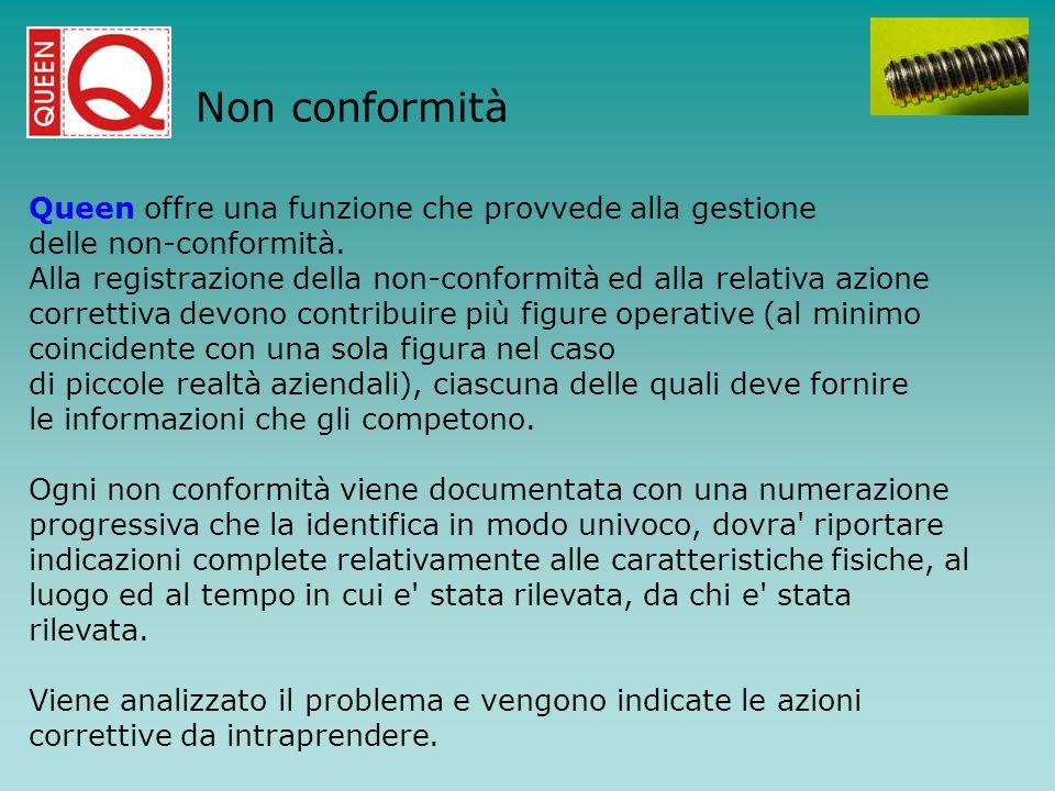 Non conformità Queen offre una funzione che provvede alla gestione delle non-conformità. Alla registrazione della non-conformità ed alla relativa azio