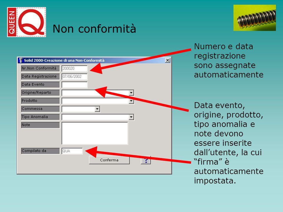 Numero e data registrazione sono assegnate automaticamente Data evento, origine, prodotto, tipo anomalia e note devono essere inserite dallutente, la