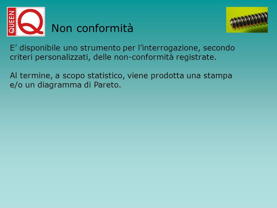E disponibile uno strumento per linterrogazione, secondo criteri personalizzati, delle non-conformità registrate. Al termine, a scopo statistico, vien